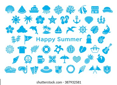 greeting card with summer icons.