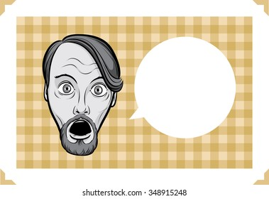 Greeting card with surprised bearded man - just add your text