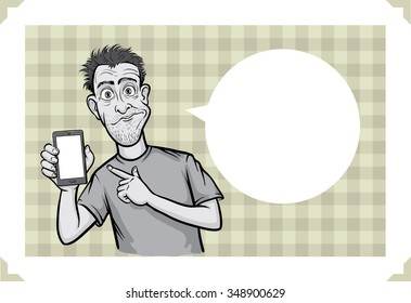 Greeting card with surprised smartphone user - just add your text