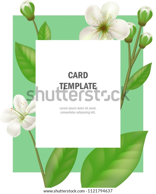 Greeting card template with apple flowers on green frame. Party, event, celebration. Holiday concept. Can be used for invitation, greeting card, brochure