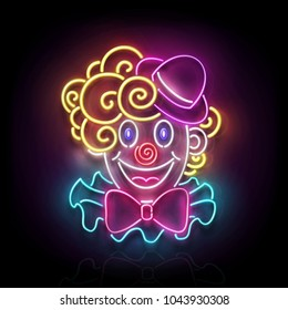 Greeting Card Template for April Fool's Day, Happy Birthday Concept. Glow Signboard with Cute, Lovely Clown. Neon Light Poster, Flyer, Banner, Postcard. Glossy Background. Vector 3d, Clipping Mask