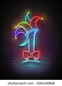 Greeting Card Template for April Fool's Day. Glow Signboard with Number 1, Jester Hat and Bow. Neon Light Poster, Flyer, Banner. Brick Wall, Horisontal Seamless. Vector 3d Illustration. Clipping Mask