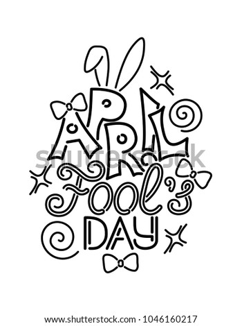 greeting card template for april fools day doodle funny letters bows heart
