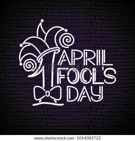 greeting card template for april fools day doodle style number 1 letters and