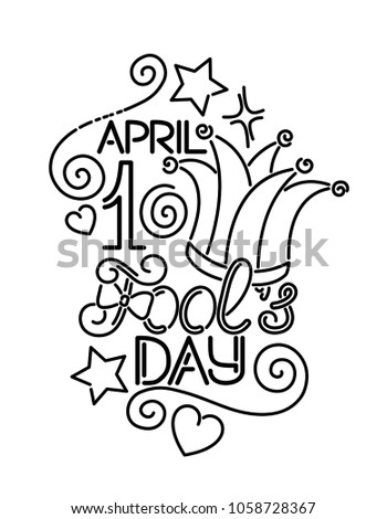 greeting card template for april fools day number 1 letters and jester hat