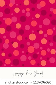 """Greeting card template with colorful dots design and text """"Happy New Year!"""". Modern and creative postcard, social media post, blogging, poster design."""