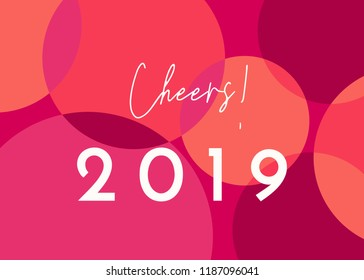 """Greeting card template with colorful dots design and text """"Cheers 2019"""". Modern and creative postcard, social media post, blogging, poster design."""
