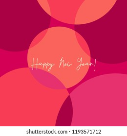 """Greeting card template with colorful dots design and text """"Happy New Year!"""". Modern and creative square postcard, social media post, blogging, poster design."""
