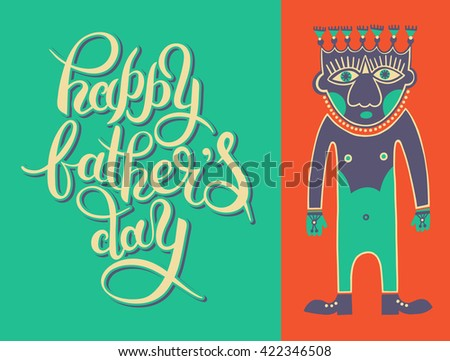 Greeting Card Template For Father Day With Hand Lettering Inscription And Man Modern Drawing Vector