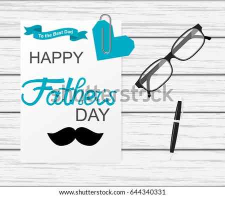 Greeting Card Template Father Day Happy Stock Vector Royalty Free