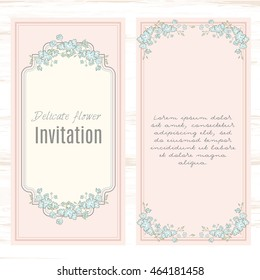greeting card template floral background. Design stationery set in vector format. Wedding card or invitation, shabby chic