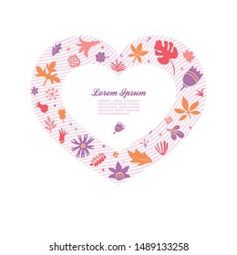 greeting card template with floral doodles forming heart sign