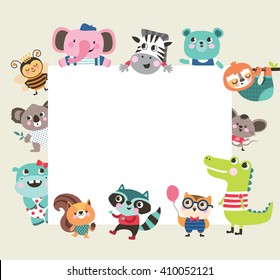 Greeting card template with group of cute animals and text space