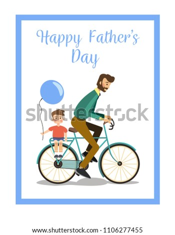 Greeting Card Template Happy Fathers Day Vector Illustration In A Flat Style