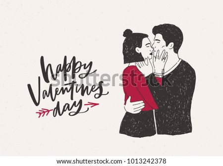 Greeting card template pair hugging kissing stock vector royalty greeting card template with pair of hugging and kissing hipster boy and girl or passionate lovers m4hsunfo
