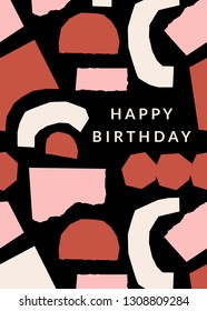 Greeting card template with paper cut shapes in cream, pastel pink and brick red on cream background. Text Happy Birthday. Creative and modern collage style wall art, greeting card, gift wrap design.