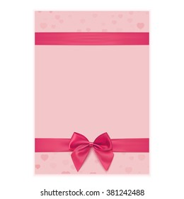 Greeting card template with pink ribbon and bow. Vector illustration.