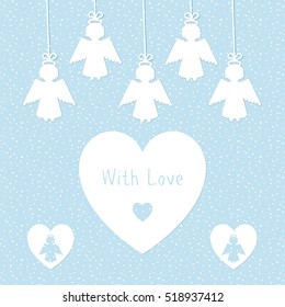 Greeting card template with silhouettes of angel and heart. Stock vector illustration in white and blue colors.
