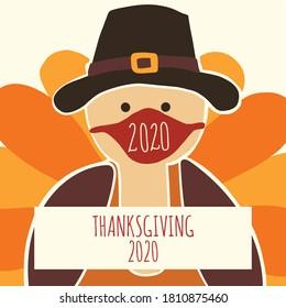 Plantilla de tarjeta de saludo Día de Acción de Gracias 2020. Ilustración vectorial totalmente editable. Turquía con una máscara facial. Quédate en casa, diseño de distanciamiento social. Volante, afiche, tarjeta de saludo, publicación en medios sociales