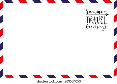 Greeting card with text and pattern in airmail style. vacation.Vector and illustration design.