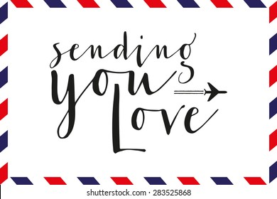 Greeting card with text and pattern in airmail style. Vector and illustration design.