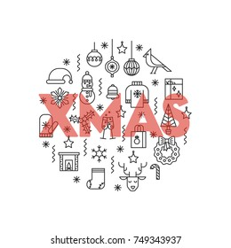 Greeting card with thin line icons ans big red word Xmas. The flyer can be used in Christmas sales, promotions, decorations.