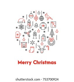 Greeting card with thin line icons ans big red words Merry Christmas. The flyer can be used in Christmas sales, promotions, decorations,