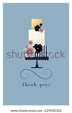 Greeting Card Threelevel Cake Sample Text Stock Vector