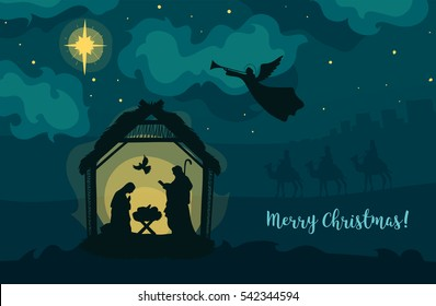 Greeting card of Traditional Christian Christmas Nativity Scene of baby Jesus in the manger with Mary and Joseph in silhouette.
