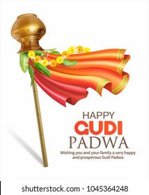 Greeting card with traditional symbol Gudhi for Indian New Year festival Gudi Padwa (Ugadi). Vector illustration.