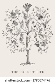 Greeting card. The Tree of Life. Vintage floral vector element. Victorian. Black and white