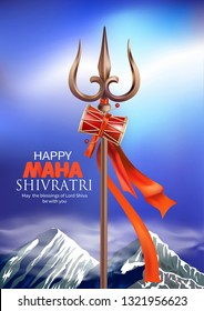 Greeting card with trishul and damaru for Maha Shivratri, a Hindu festival celebrated of Lord Shiva. Vector illustration.