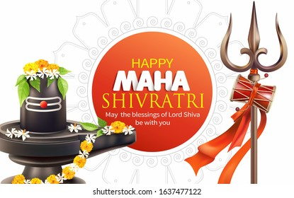 Greeting card with trishul (trident) and lingam for Maha Shivratri, a Hindu festival celebrated of Lord Shiva. Vector illustration.