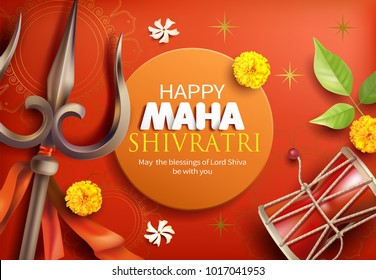Greeting card with trishula, damru, bilva leaves, zendu and parijat flowers for Maha Shivratri, a Hindu festival celebrated of Shiva Lord. Vector illustration.Print