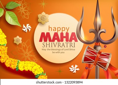 Greeting card with trishula, damru, bilva leaves and floral garland (with zendu flowers) for Maha Shivratri, a Hindu festival celebrated of Shiva Lord. Vector illustration.