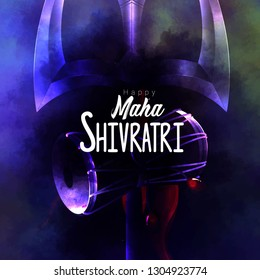 Greeting card with trishula for Maha Shivratri, a Hindu festival celebrated of Lord Shiva with damru and smoky black blue background