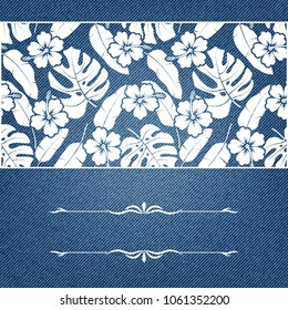 Greeting card with tropical pattern on denim texture.