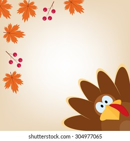 Greeting card with turkey in cartoon style. Funny character Thanksgiving. Happy Thanksgiving funny illustration. Flat style.
