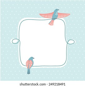 Greeting card with two birds sitting on the frame.One spread its wings and one folded its wings
