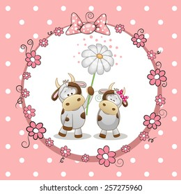 Greeting card with two Cows in a frame