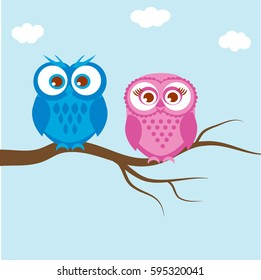 Greeting card with two lovely owls on a tree branch/ Owls couple, family on blue background
