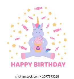 Greeting card with a unicorn drinking a milkshake surrounded with stars ans sweets.