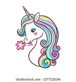 Greeting card with unicorn on a white background. Postcard with a cute mythical animal.