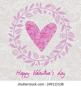 Greeting Card Valentine's Day with big heart on the background hearts and floral elements. Vector illustration.