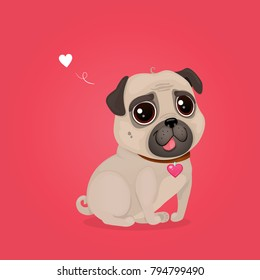 Greeting card for Valentine's Day with a cute pug. Cartoon dog with heart. Vector illustration for a postcard or a poster.