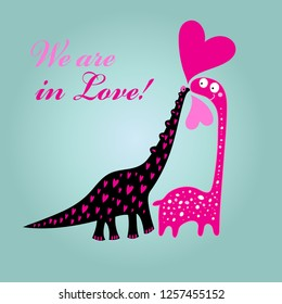 Greeting card to Valentine's Day card with dinosaurs in love and hearts on a light background
