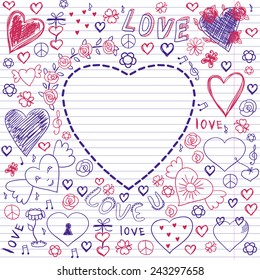 Greeting card for Valentine's day, sketch on a school note book