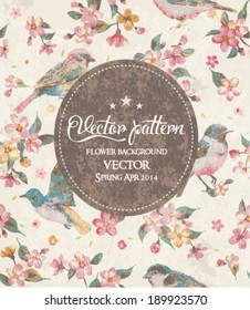 greeting card vintage flower with birds vector pattern
