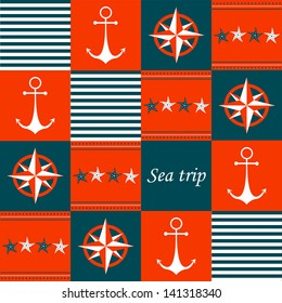Greeting card with vintage retro nautical symbols