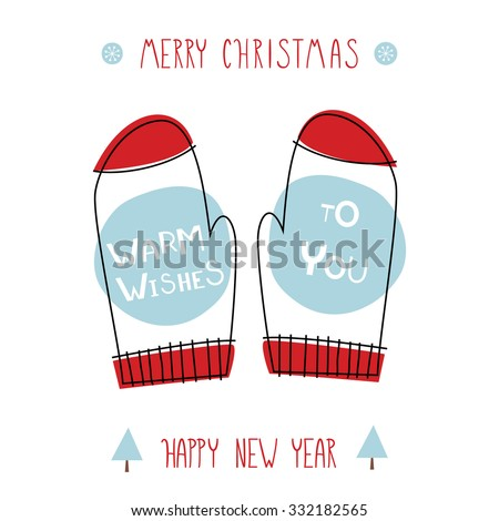Greeting card warm wishes you creative stock vector royalty free greeting card warm wishes to you creative hand drawn card with knitted red mittens m4hsunfo